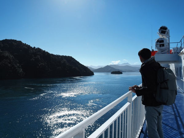A view of the sounds from a far on Interislander ferry