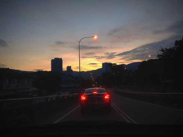 Driving In Penang At Sunset