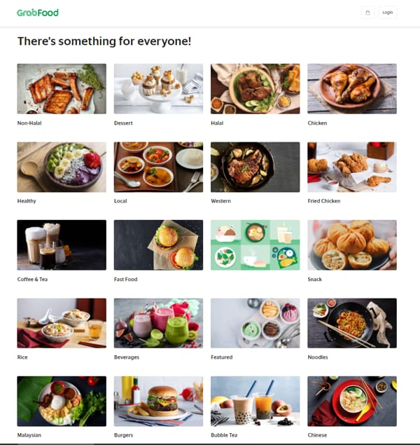 Food Choices Available In Grab Food