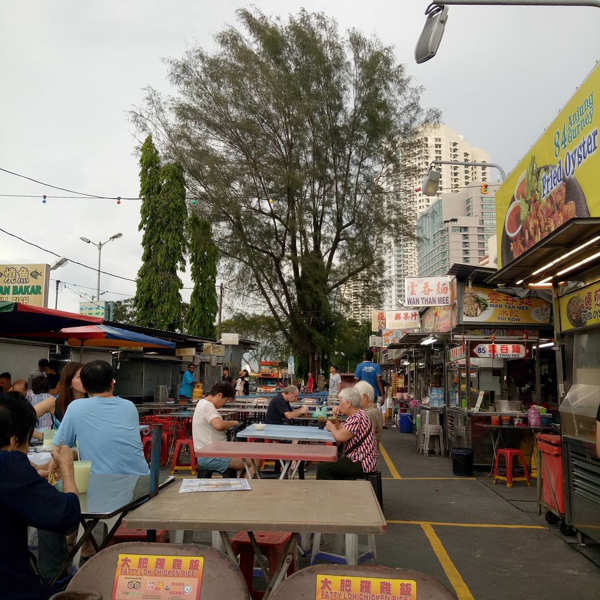 Gurney Drive Hawker Food Centre Before Nightfall In Penang