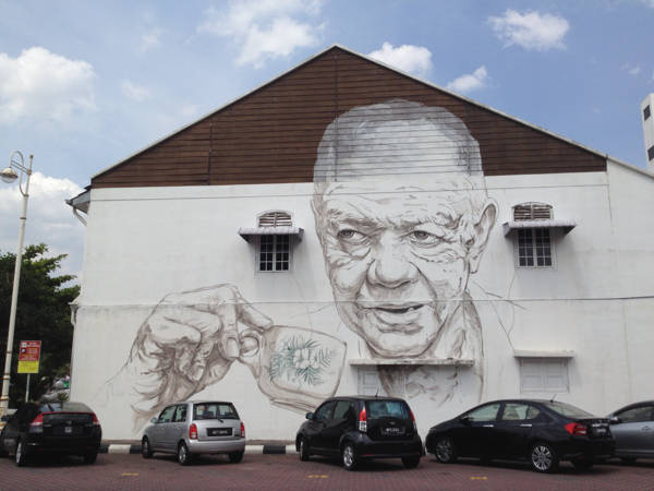 Ipoh Street Art Mural - An Old Uncle Drinking Coffee