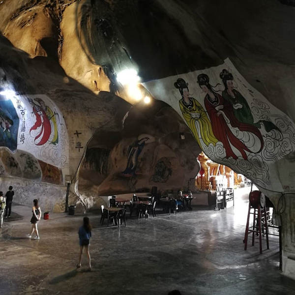Large Paintings Of Chinese Figures In The Main Cavern Of Perak Tong In Ipoh
