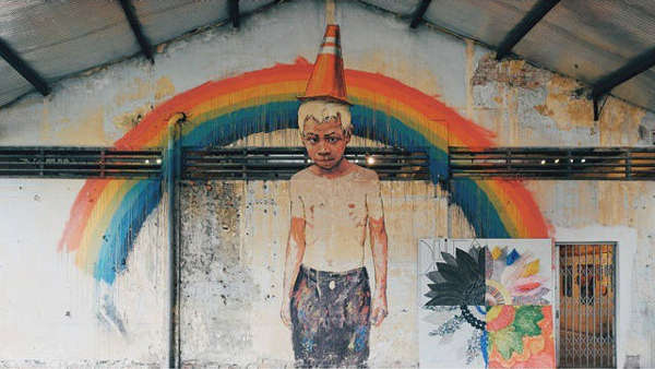 Mural Of A Rainbow And Boy With A Traffic Cone On His Head At Hin Bus Depot Art Centre, Penang
