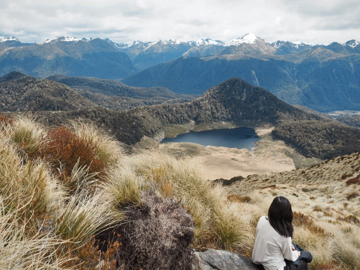One of the lakes seen from near the summit of the Mount Burn Tarns track in Fiordland