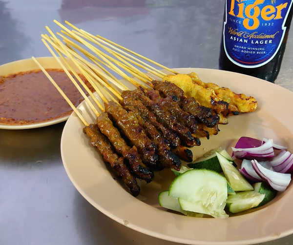 Satay And Beer At Song River Café, Gurney Drive, Penang