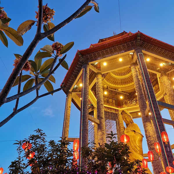 The Guan Yin Statue Of Kek Lok Si Lit Up During Chinese New Year