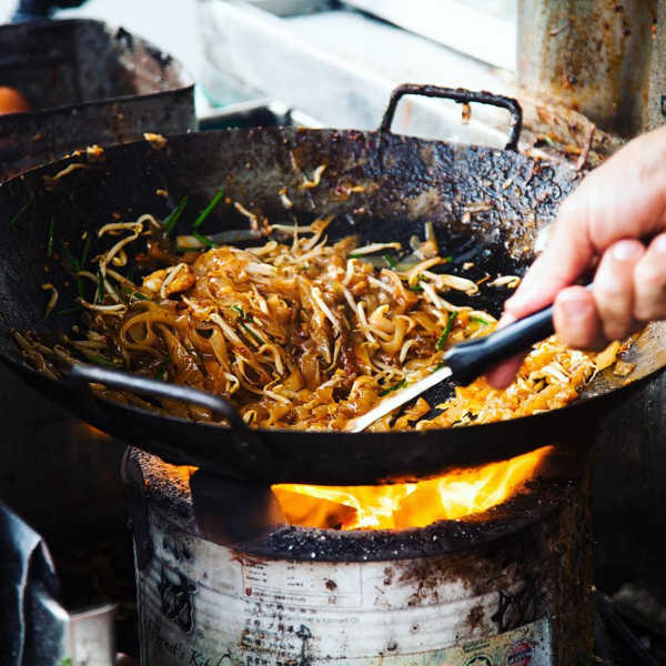 Penang Street Food - The Long Serving Iron Cast Wok At New Siam Road Char Koay Teow