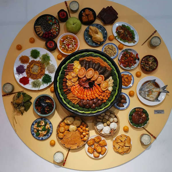 Typical Chinese New Year Feast Visual Exhibit At Wonderfood Museum